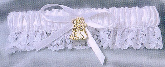 Precious Moments White Garter With Gold Charm