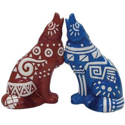 Call Of The Wolf Tribal Art Salt And Pepper Shakers