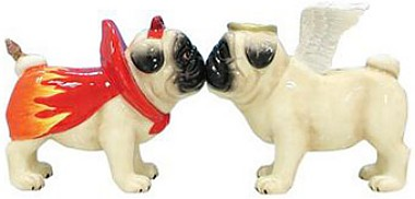 Pugnacious Angel And Devil Pugs Salt And Pepper Shakers