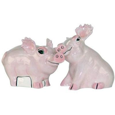 Safari Pigs Salt And Pepper Shakers by Lynda Corneille