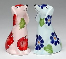 Floral Dogs Salt And Pepper Shakers