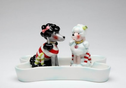 Poodles Salt And Pepper Shakers With Bone Tray