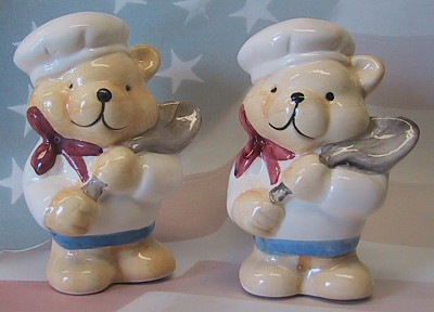 Teddy Bear Chef Salt And Pepper Shakers