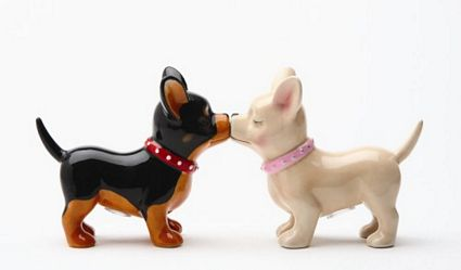 Pucker Up Pups Chihuahuas Kissing Magnetic Salt And Pepper Shakers