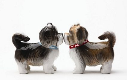 Sweet Shih Tzus Kissing Magnetic Salt And Pepper Shakers