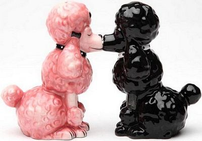 Poodles Kissing Magnetic Salt And Pepper Shakers