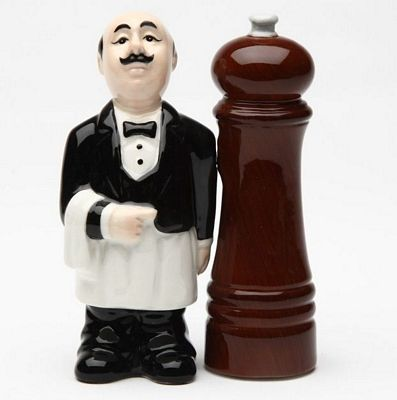 Waiter And Pepper Mill Magnetic Salt And Pepper Shakers