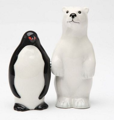 Polar Opposites Polar Bear And Penguin Magnetic Salt And Pepper Shakers