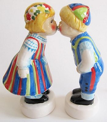 Finnish Boy And Girl Kissing Salt And Pepper Shakers
