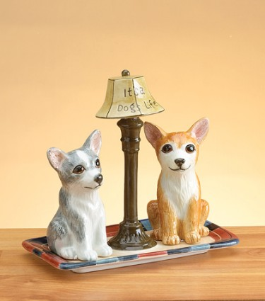Chihuahua Salt And Pepper Shakers With Base