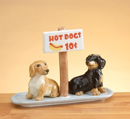 Dachshund Salt And Pepper Shakers With Base