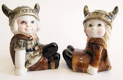 Viking Boy And Girl Salt And Pepper Shakers