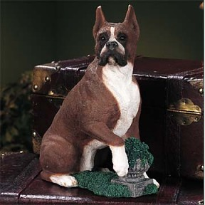 Boxer With Plant Adult Dog Figurine