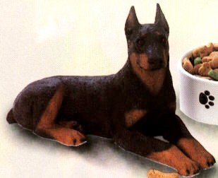 Doberman Black Adult Dog Figurine