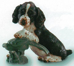 Springer Spaniel With Bird Puppy Dog Figurine