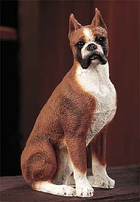 Boxer Uncropped Medium Dog Figurine