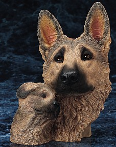 German Shepherd With Pup Bust Figurine