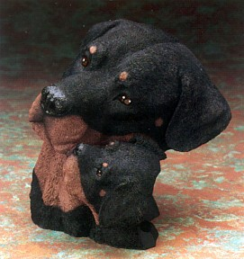 Rottweiler With Puppy Bust Figurine