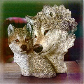 Wolf With Pup Circle Of Love Sculpture