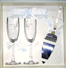 Forever Collection Gift Set With Garter, Toasting Glasses And Server