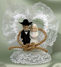 Cowboy Groom And Bride Cake Top